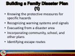 building a family disaster plan 1