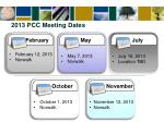 2013 pcc meeting dates