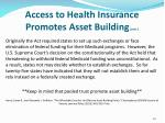 access to health insurance promotes asset building cont1