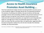 access to health insurance promotes asset building cont3