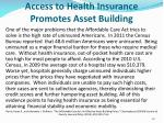 access to health insurance promotes asset building
