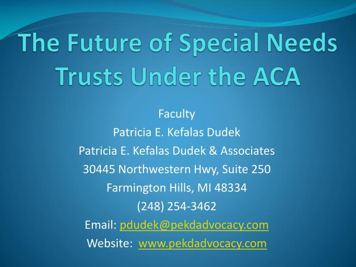 the future of special needs trusts under the aca n.