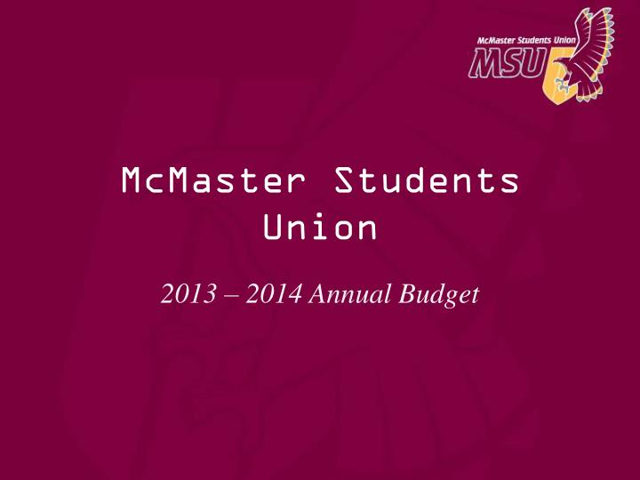 mcmaster students union n.