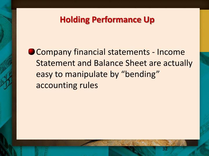 Holding Performance Up