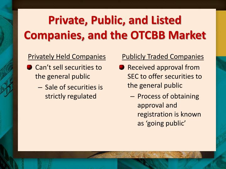 Private, Public, and Listed Companies, and the