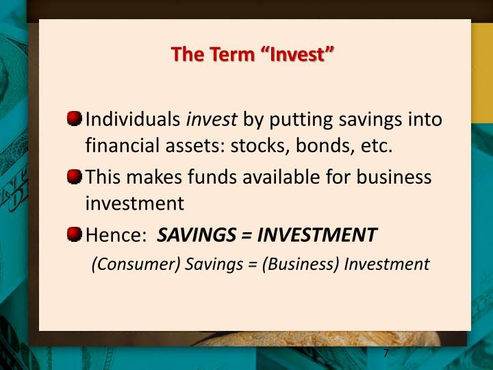 """The Term """"Invest"""""""