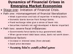 dynamics of financial crises in emerging market economies