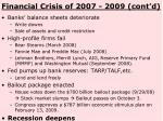 financial crisis of 2007 2009 cont d