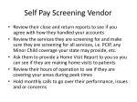 self pay screening vendor