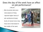 does the day of the week have an effect on job performance1