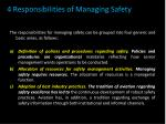 4 responsibilities of managing safety