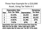 three year example for a 10 000 asset using tax table a 1