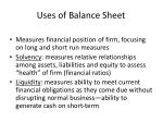 uses of balance sheet