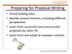 preparing for proposal writing