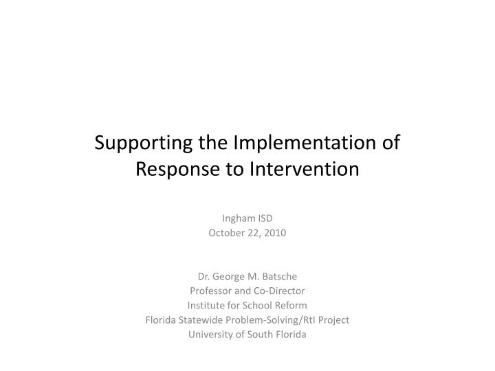 supporting the implementation of response to intervention n.