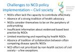 challenges to ncd policy implementation civil society