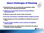 about challenges of planning