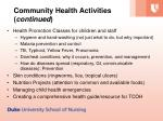 community health activities continued