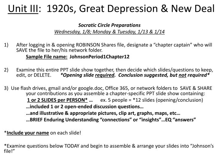 unit iii 1920s great depression new deal n.