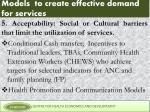 models to create effective demand for services