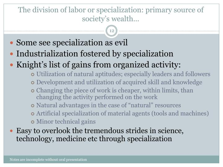 the division of labor according to