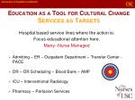 education as a tool for cultural change services as targets