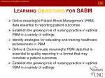 learning objectives for sabm