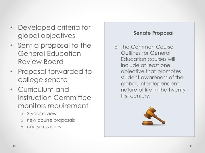 Developed criteria for global objectives