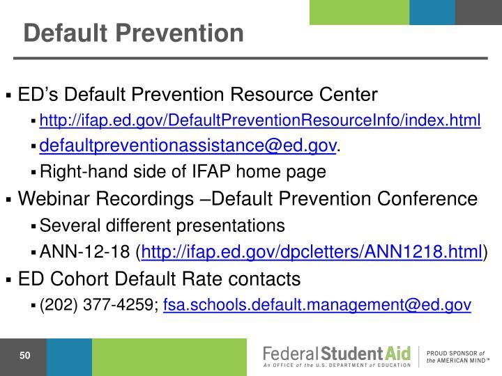 Default Prevention