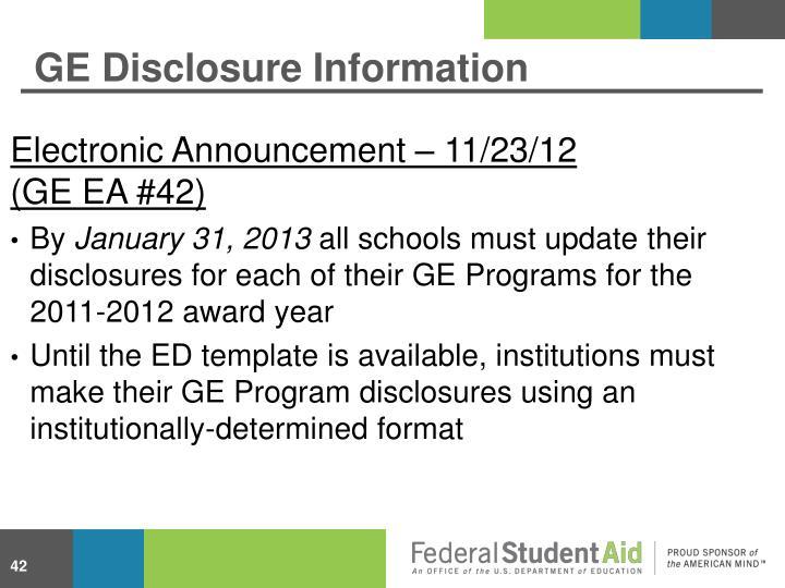 GE Disclosure Information