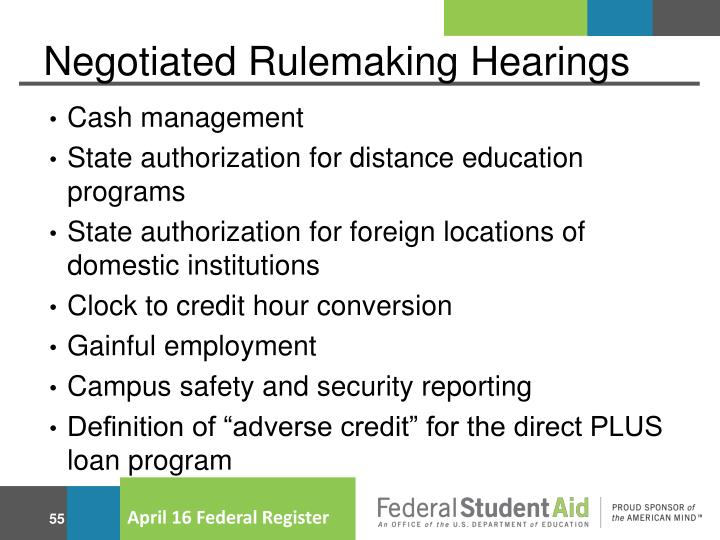 Negotiated Rulemaking Hearings
