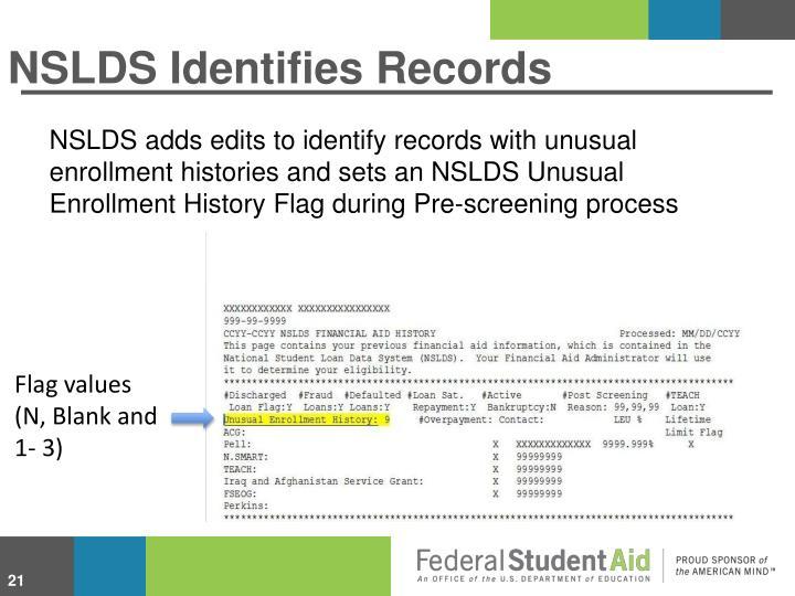 NSLDS Identifies Records