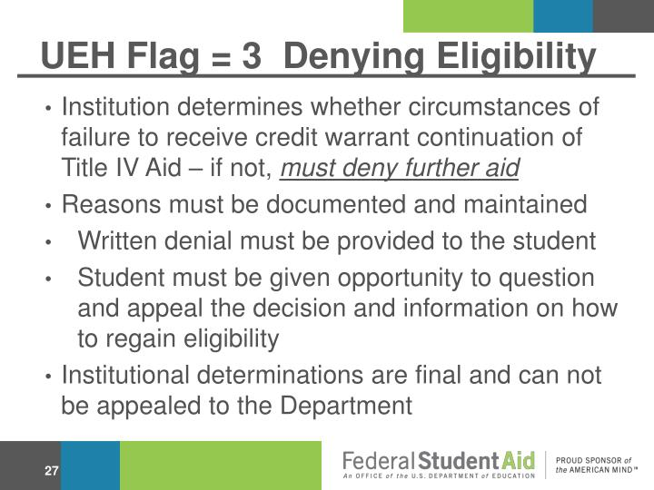 UEH Flag = 3  Denying Eligibility