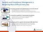 security and compliance management is becoming more difficult every day