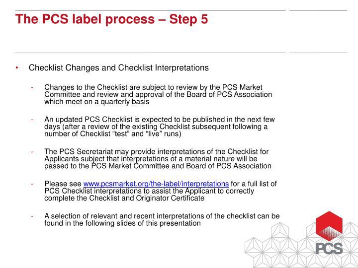 Checklist Changes and Checklist Interpretations