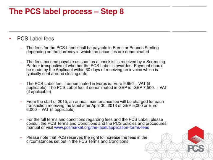 PCS Label fees