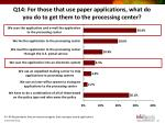 q14 for those that use paper applications what do you do to get them to the processing center