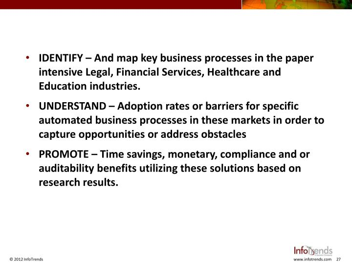 IDENTIFY – And map key business processes in the paper intensive Legal, Financial Services, Healthcare and Education industries.