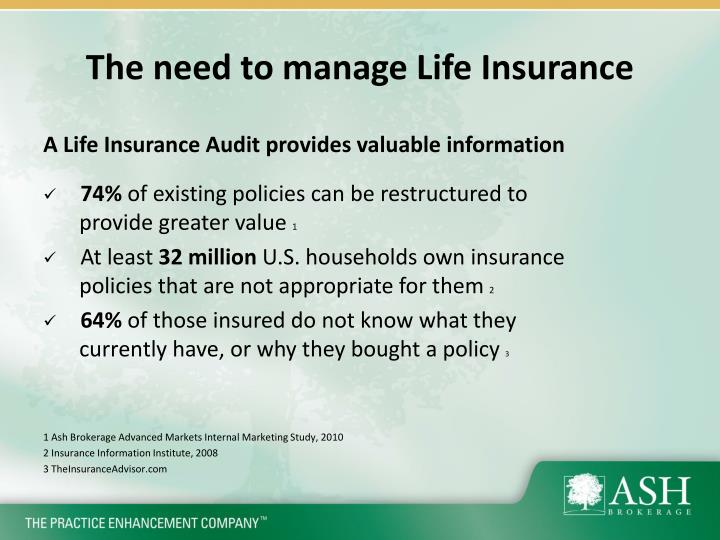 The need to manage life insurance