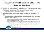 actuarial framework and tas scope r eview