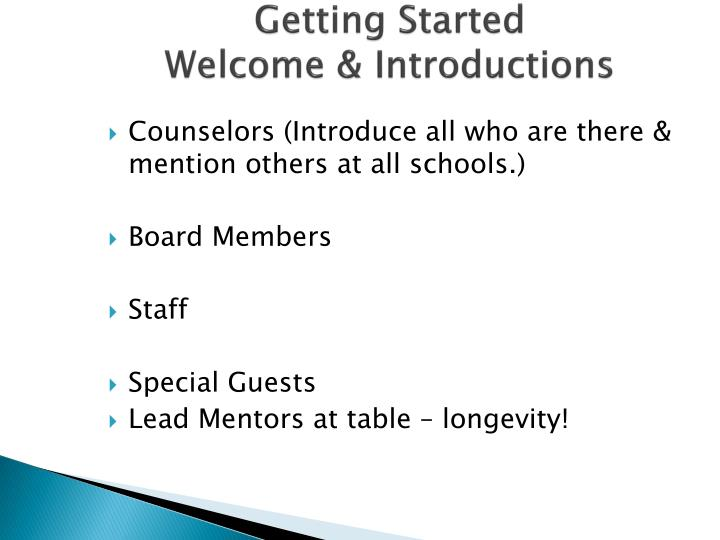 Getting started welcome introductions