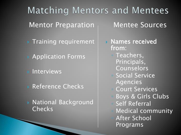 Matching Mentors and Mentees