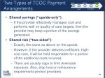 two types of tcoc payment arrangements