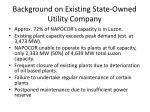 background on existing state owned utility company