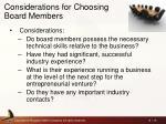 considerations for choosing board members