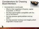 considerations for choosing board members1