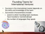 founding teams for international ventures