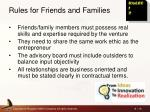 rules for friends and families