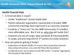 health financial data issues raised so far