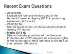 recent exam questions